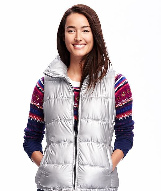 metallic frost free vest for women