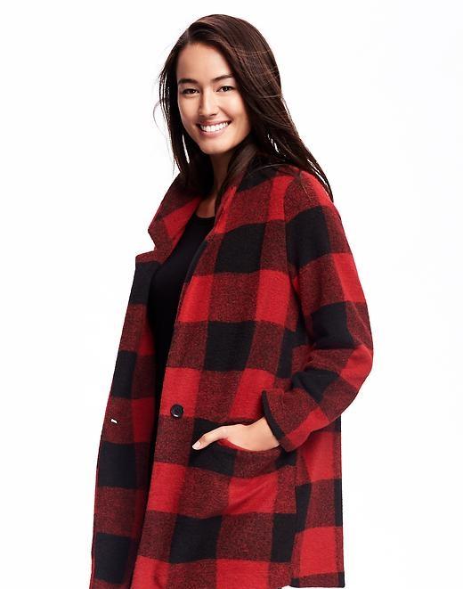stylish red brush stand collar stand coat