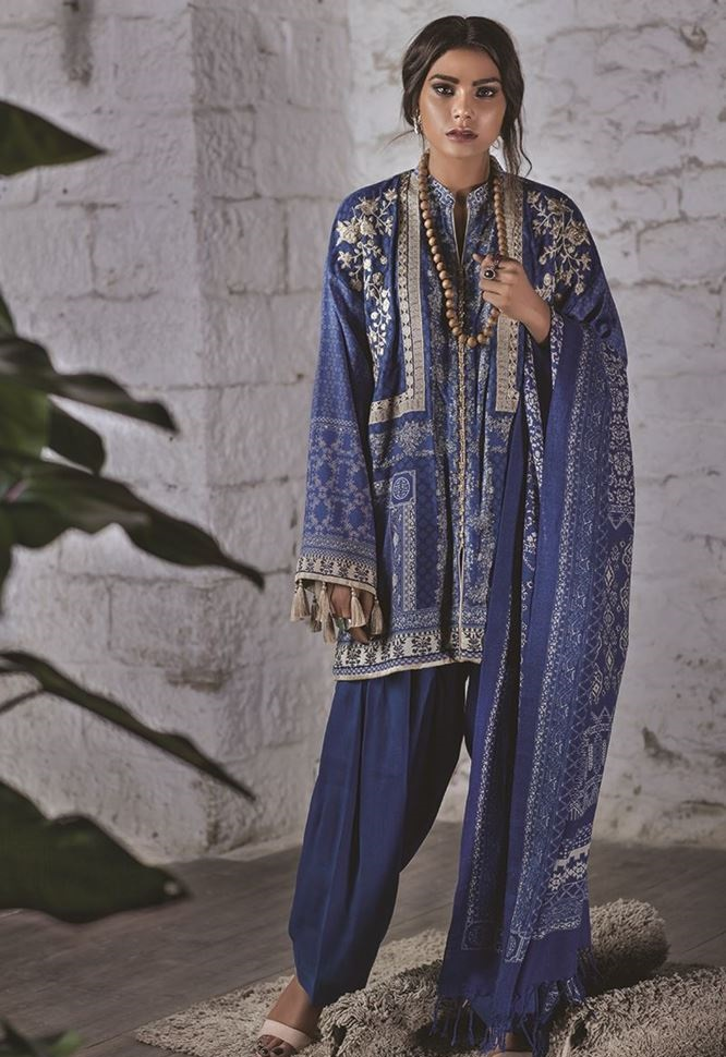 embroidered khaddar winter outfit