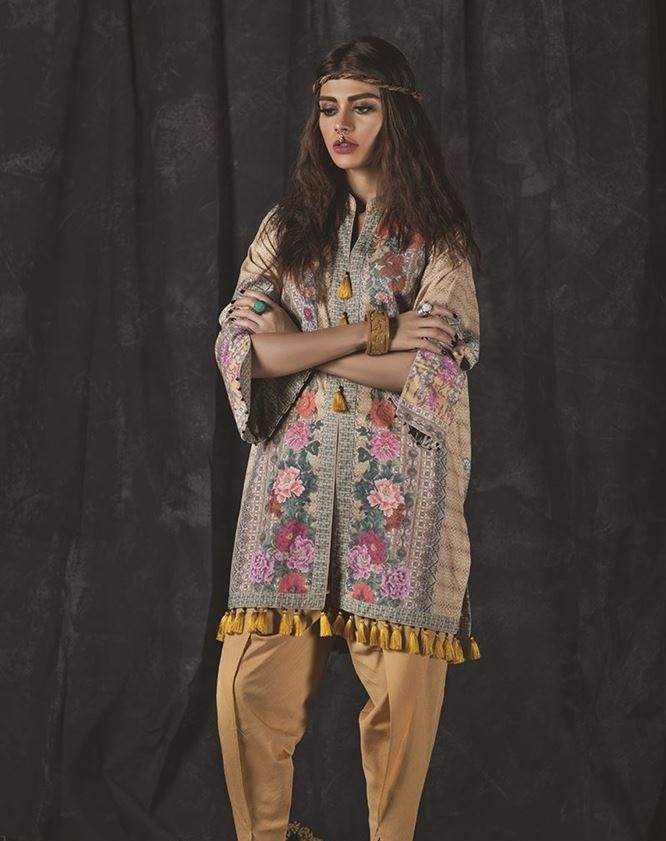 outfitters printed karandi dress by ethnic