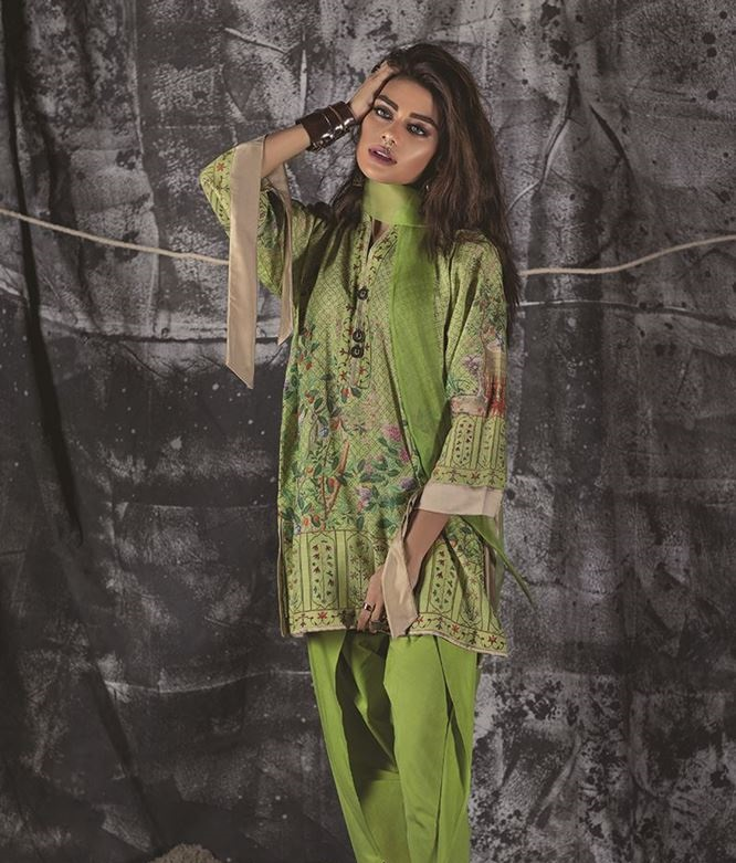green khaddar dress with cambric trouser by outfitters