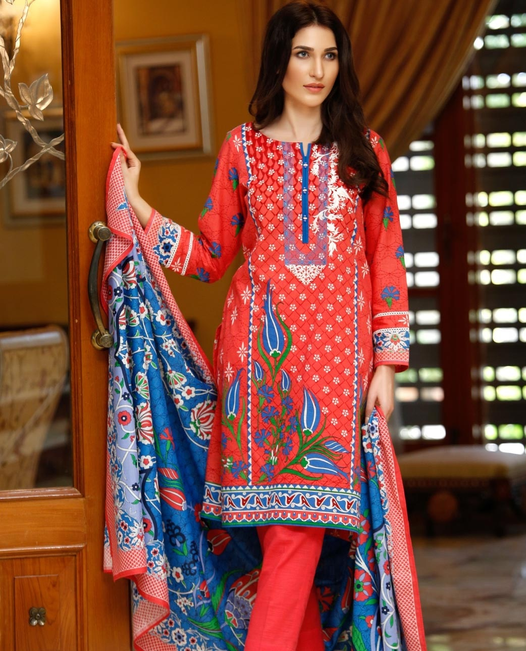 Tulip Paradise red and blue contrast cotton suit