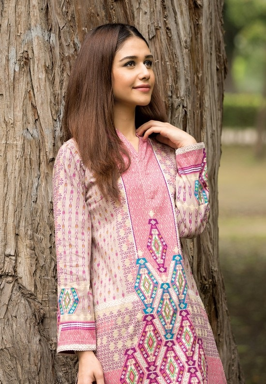 pink winter wider width khaddar shirt for winter