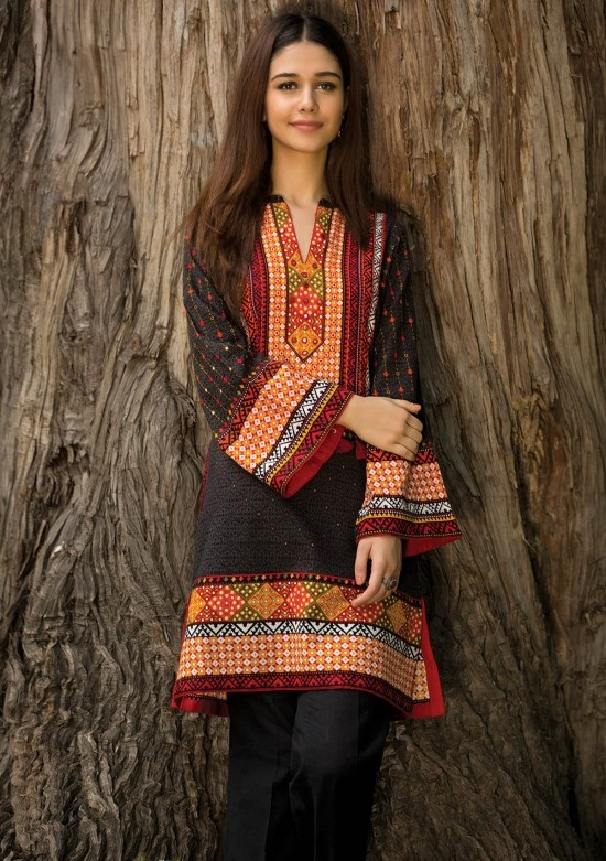 black and red khaddar shirt by kayseria