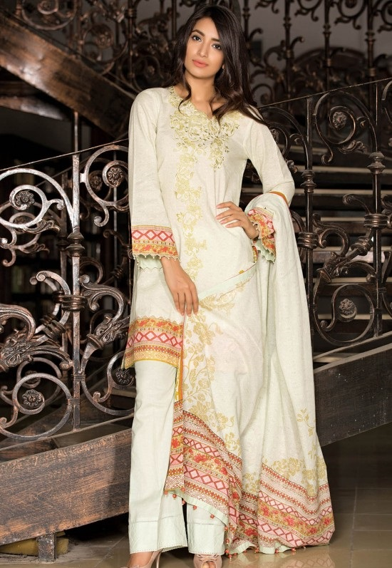 printed and embroidered white khaddar winter dress