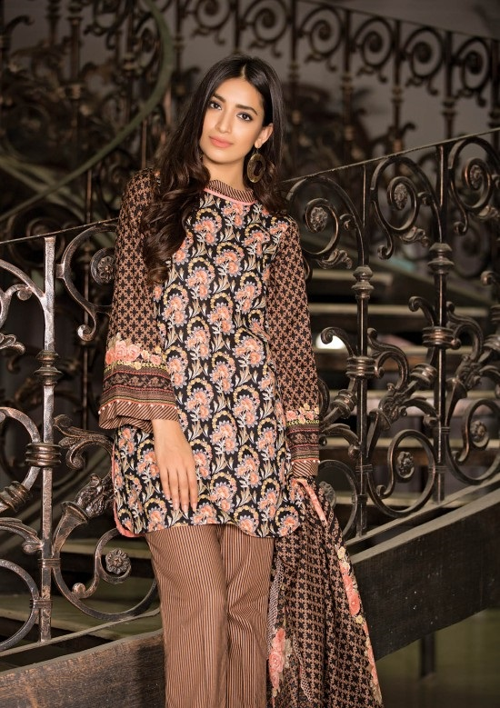 black embroidred khaddar full suit with printed khaddar shawl