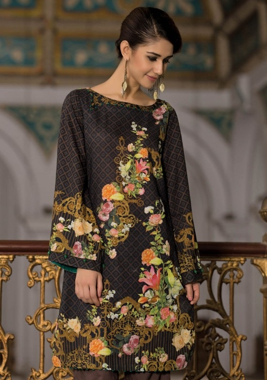 black floral printed unstitched winter shirt by kayseria