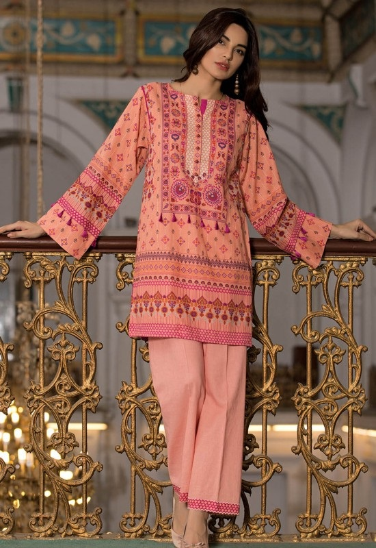 peach khaddar shirt by kayseria