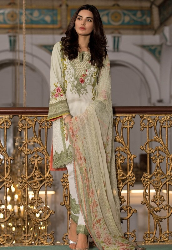 kayseria three piece winter khaddar suit with chiffon dupatta