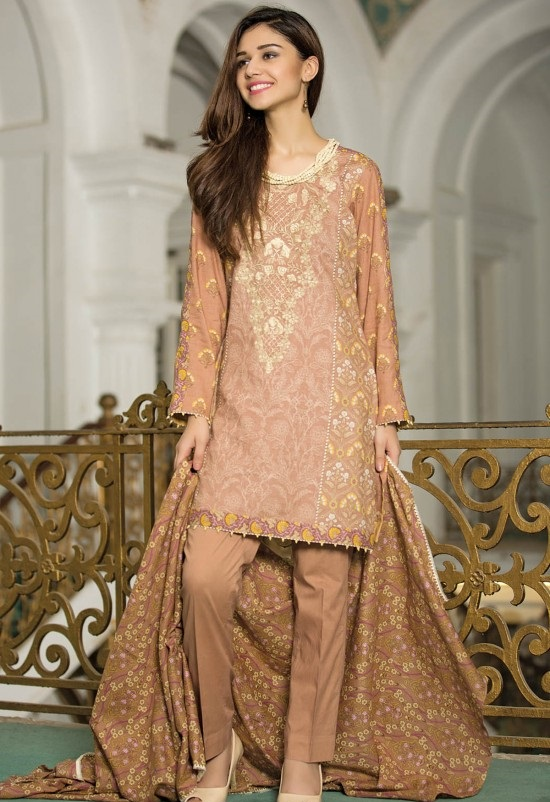 Peach printed khaddar suit with organza neckline