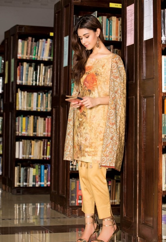 floral khaddar orange kameez