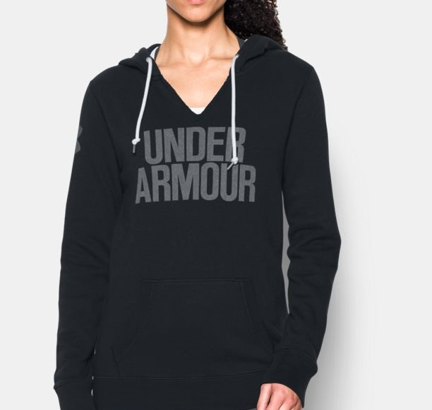 UA Favorite Fleece Popover Word Mark black hoodie