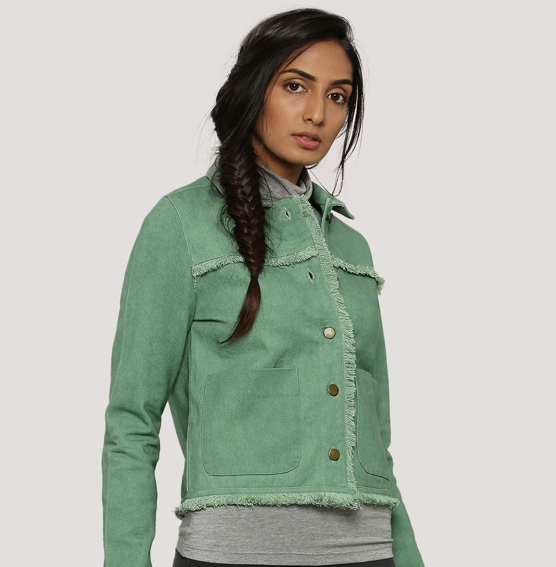 Koovs Autumn Winter green denim jacket