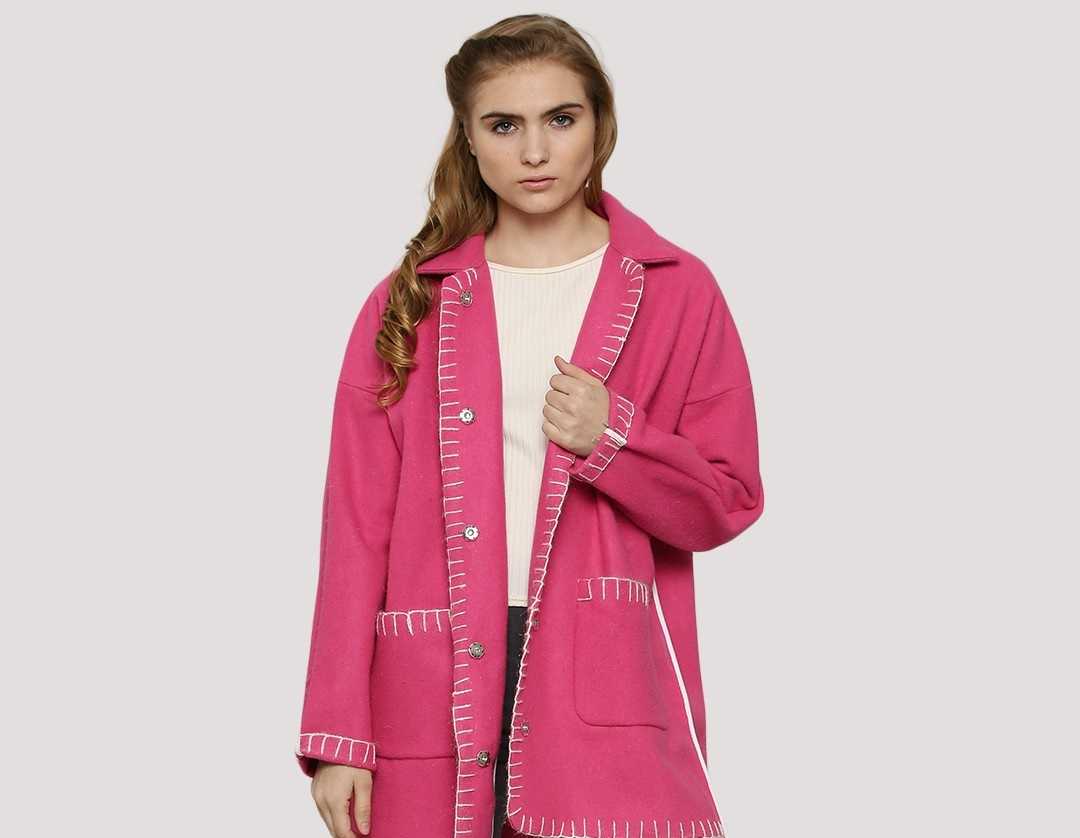 Koovs blanket stitch wool over sized pink coat