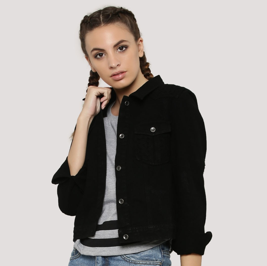Broderie patchwork distressed denim black winter jacket by KOOVS