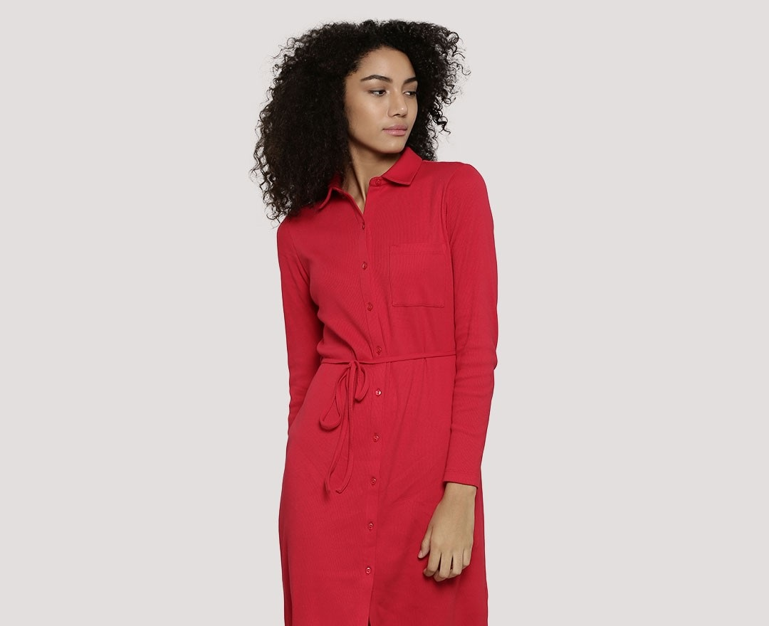 Koovs pretty red wrap dress for ladies