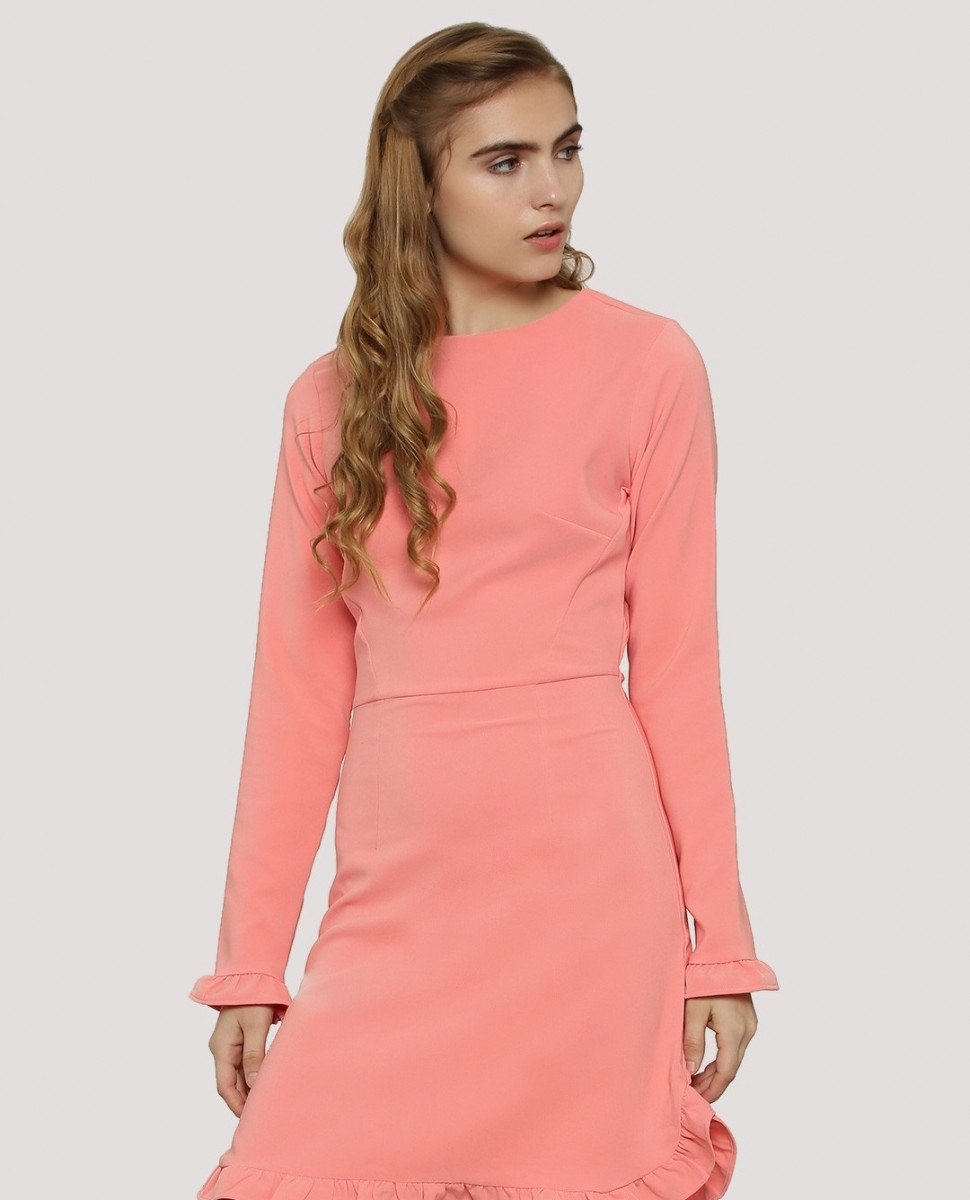 Koovs Pink Winter Midi Dress for girls