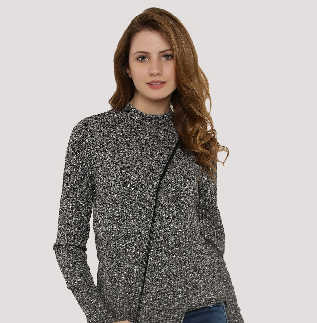 koovs grey crew-neck sweater for women
