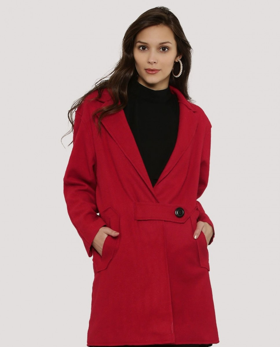 beautiful red long coat by koovs