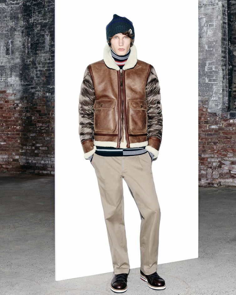 moncler brown leather jacket with nylon sleeves