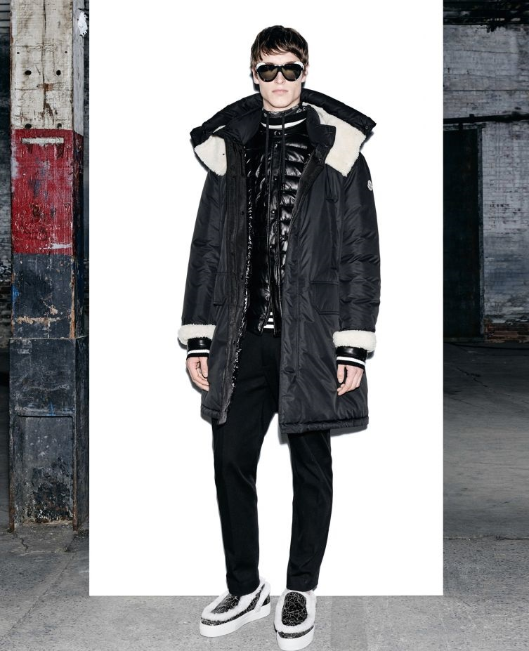 Moncler black stuffed jacket with detachable neck wrap