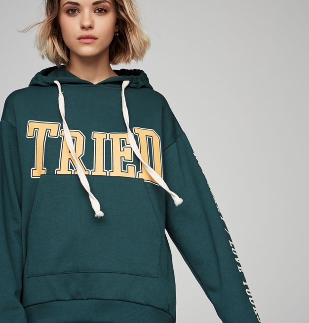 green printed hooded sweatshirt for winter