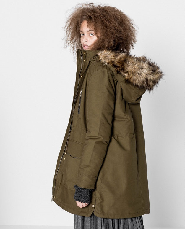 winter cotton parka with faux fur