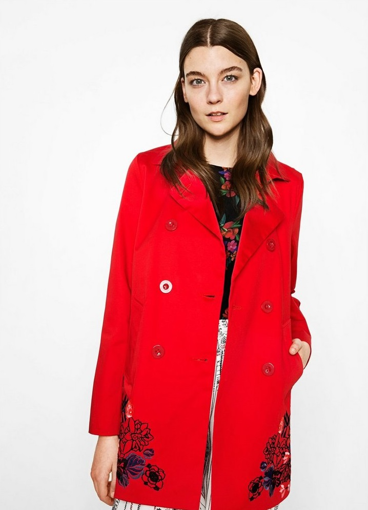 Desigaul blood red coat Norma with floral patterns for girls
