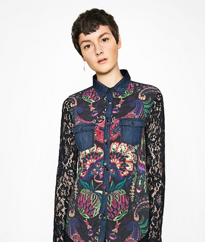 Desigaul Beautiful multi-colored lace shirt for winter