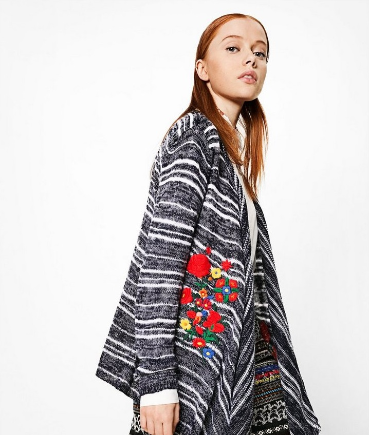 Desigaul Patricia Cardigan with colorful florwers