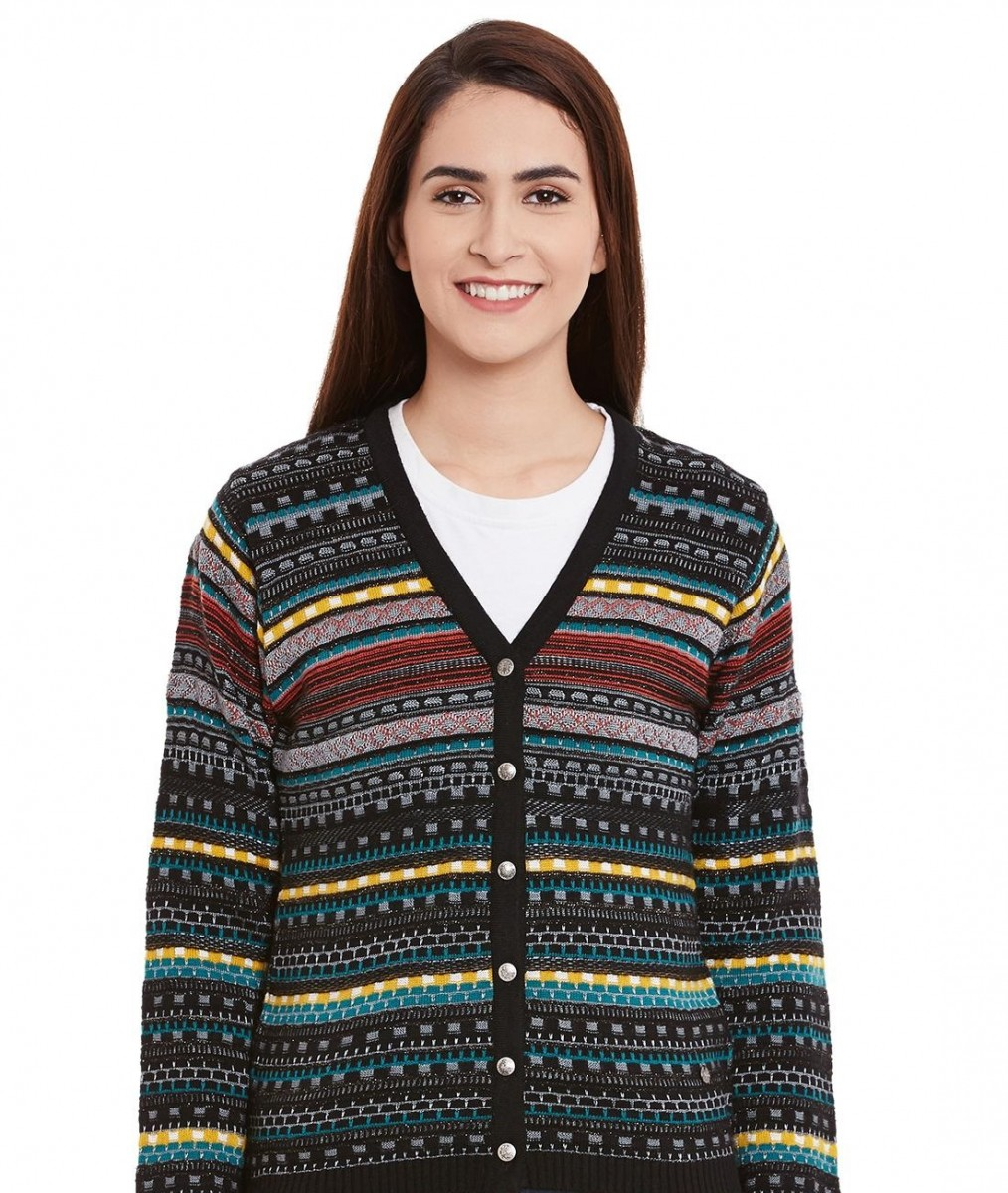 Monte Carlo multi-colored printed cardigan with black base
