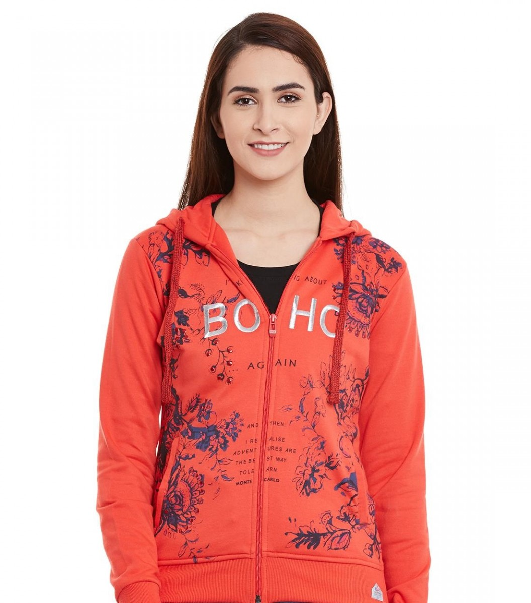 Monte Carlo Winter orange printed hooded sweatshirt
