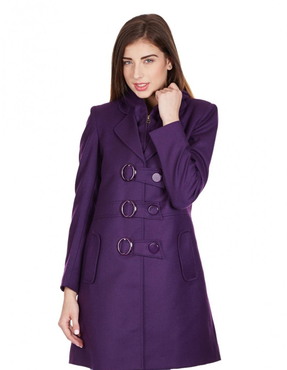 Monte Carlo stunning purple long coat with buttons for winter