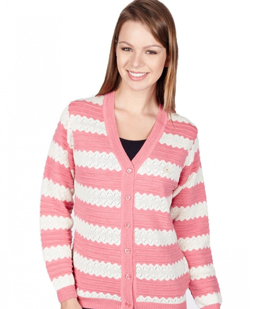 Monte Carlo beautiful pink and white sweater with buttons