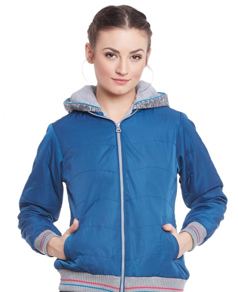 Monte Carlo indigo solid winter jacket for ladies