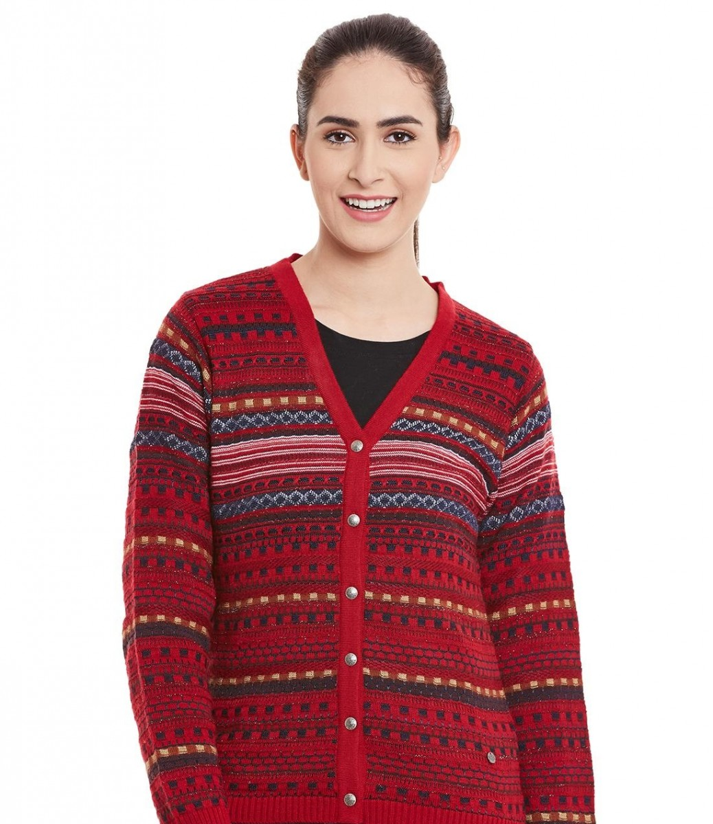 Monte Carlo multi colored red printed Winter cardigan