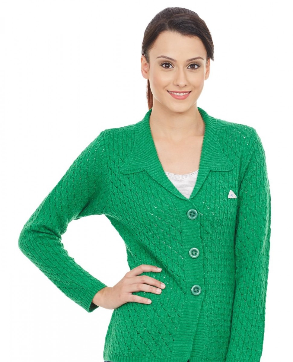 Monte Carlo Winter self design collared cardigan in fresh green color