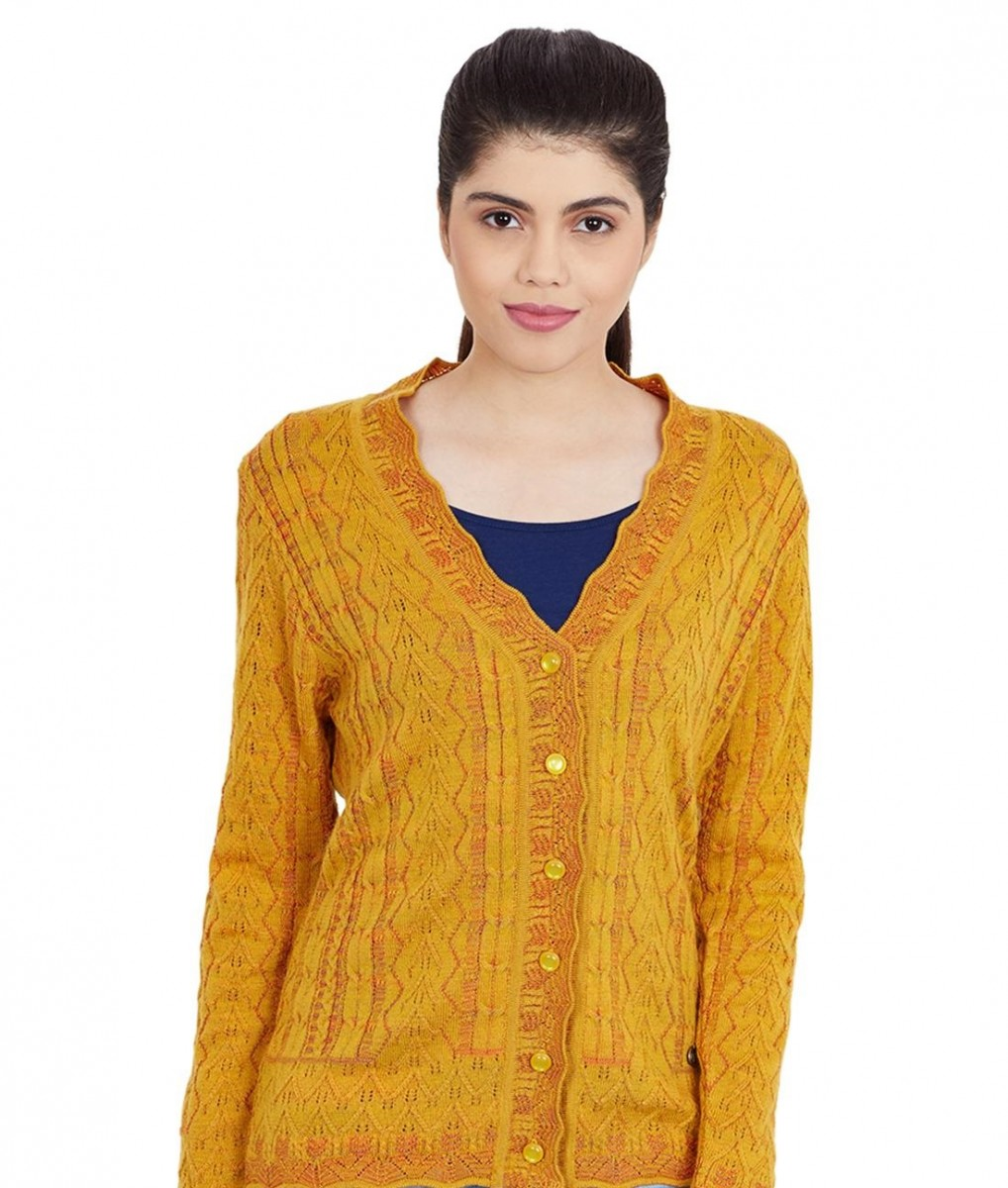 Monte Carlo mustard colored v neck cardigan with self design