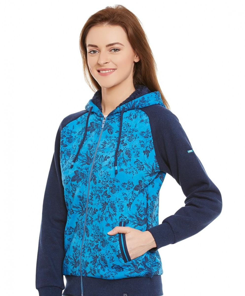 Blue printed hooded winter sweatshirt by Monte Carlo