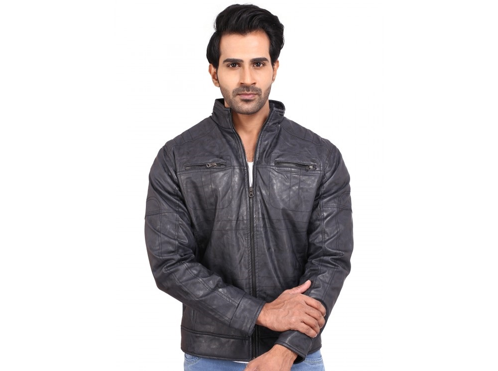 Provogue Winter PU leather jacket