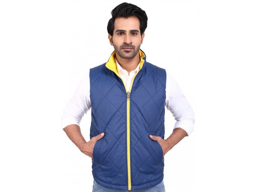 Provogue Albert Polyester blue sleeveless winter jacket for men