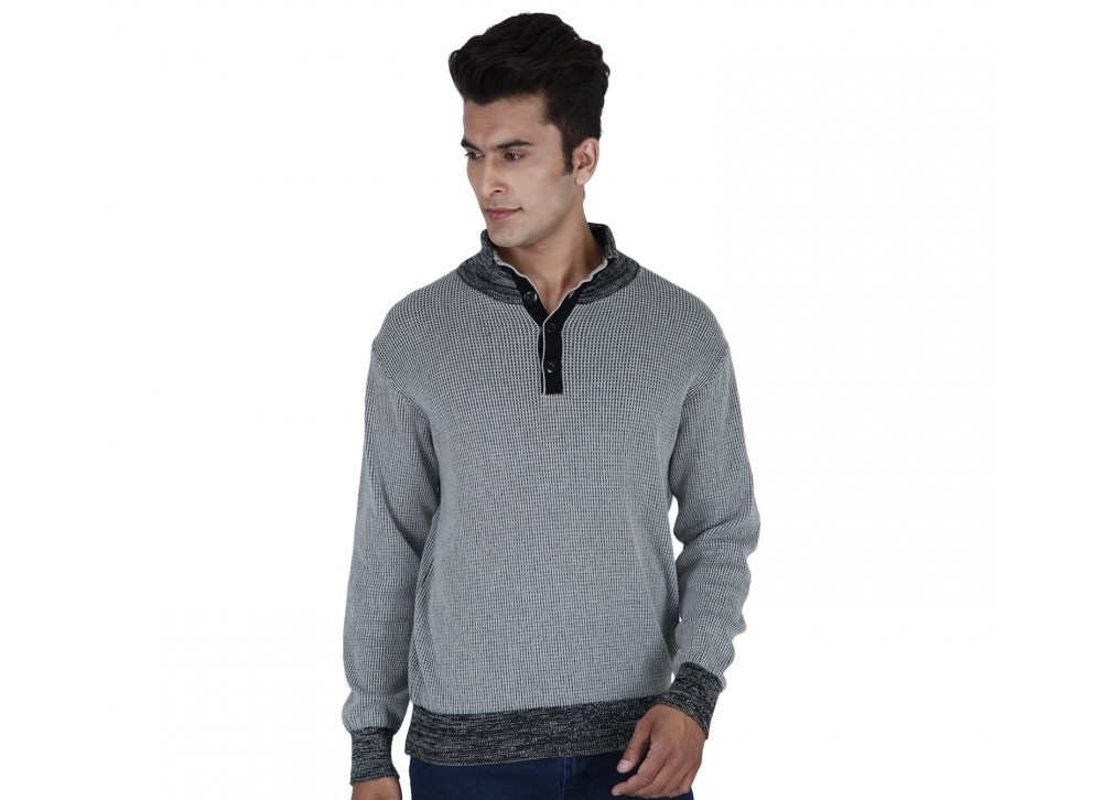 Provogue deep grid sweatshirt with collars