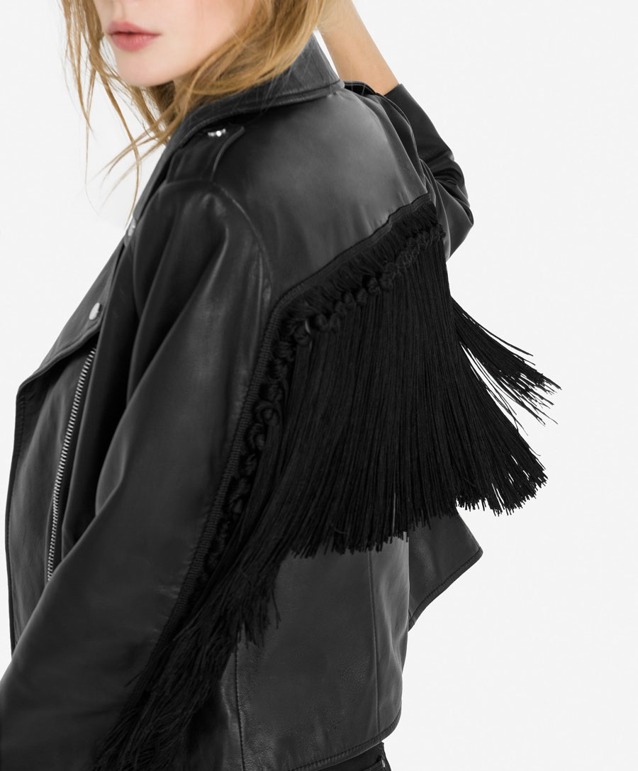 Uterque black leather fringe jacket for winters
