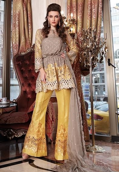 Maria B grey shirt with mustard bell bottom trouser