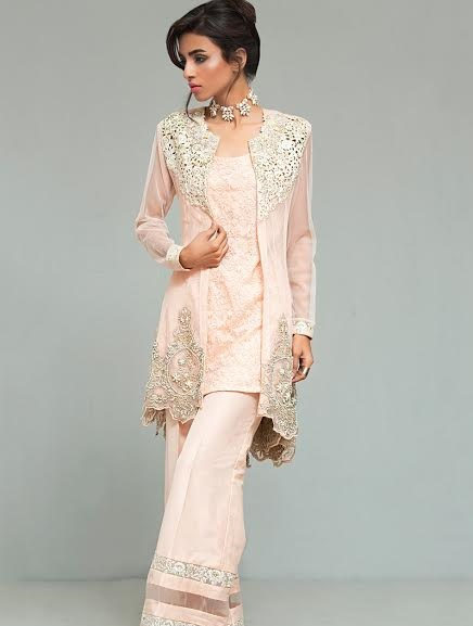 Zainab Chottani embroidered peplum with bell bottom trouser