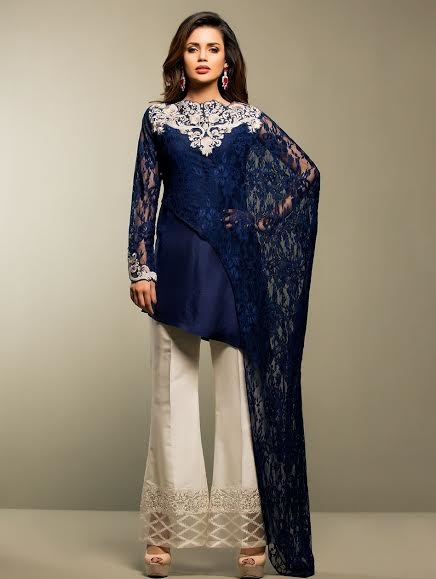 blue silk with net outfit paired with white bell bottoms