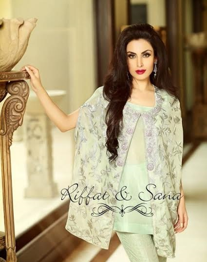beautiful light embroidered cape style top by Riffat and Sana