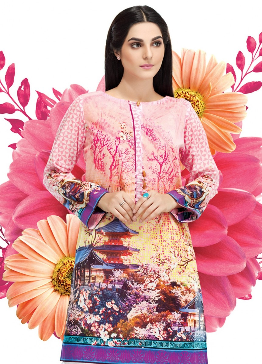 pink digital printed lawn shirt by Gul Ahmed
