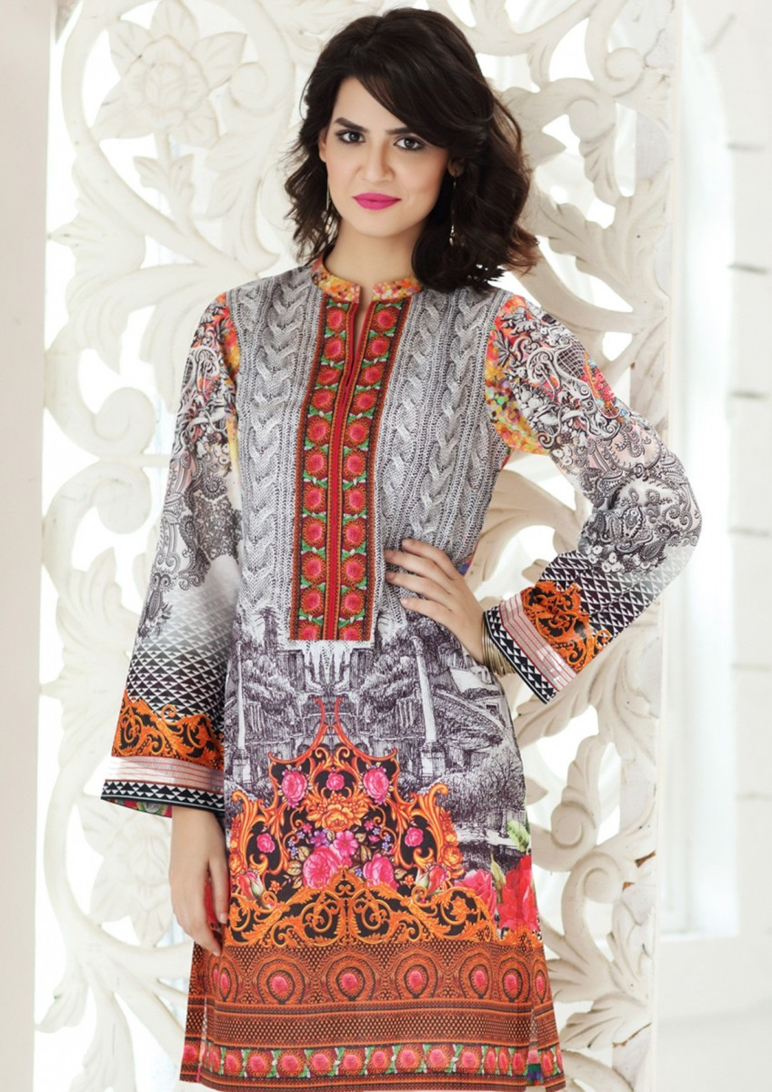 Gul Ahmed printed single lawn shirt
