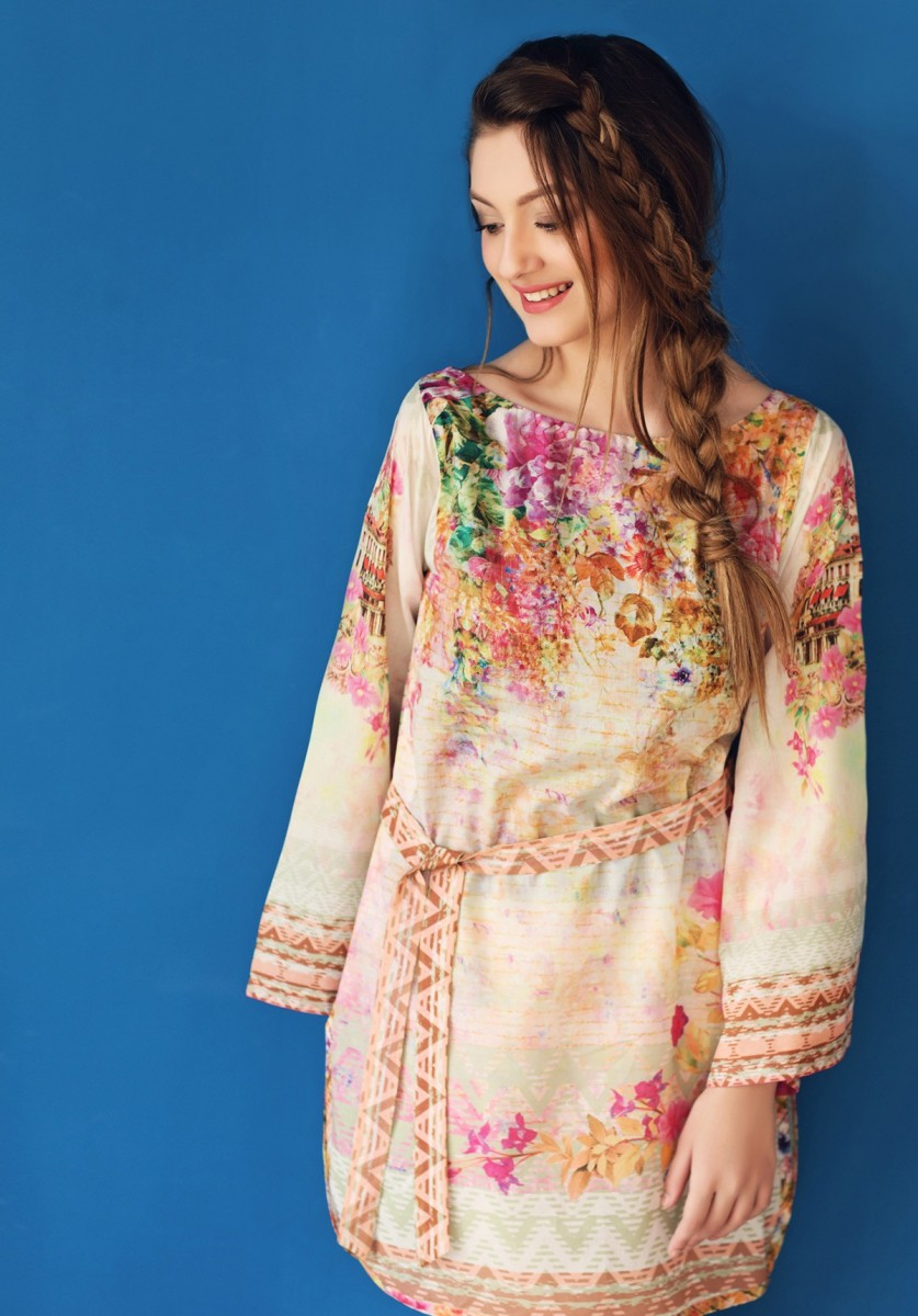 peach colorful lawn single shirt by Gul Ahmed
